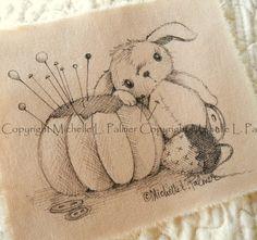Original Pen Ink Fabric Illustration Quilt Label by Michelle Palmer Bunny Rabbit Tomato Strawberry Pincushion April 2014