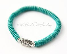 Beaded Boho 6mm Rondel Turquoise and Silver by TheBadCatBeadery