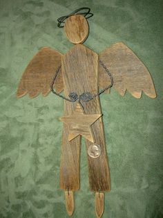 Items similar to Angels, Wooden Angels, Christmas Angels, Father, Fireman & Dentist Angels on Etsy Wood Angel, Angel Art, Christmas Yard Art, Christmas Angels, Xmas Frames, Old Wood Projects, Handmade Angels, Garden Angels, Old Barn Wood