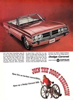 All sizes | 1966 Playboy Ad, Chrysler's Dodge Coronet 500 Convertible, Pretty Girl & Cannon | Flickr - Photo Sharing!