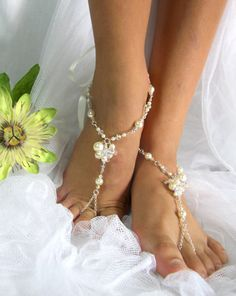 Barefoot Sandal, Foot Jewelry, Beach Wedding Sandals, AB Crystal & Cream Pearl, Belly Dance. JESSICA Small.