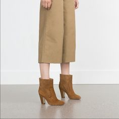 """Zara western suede booties Super comfy brown suede booties. Worn maybe 2-3x and in excellent condition!! Just as pictured, comes w box. Heel 3.5-4"""" tall. Size 40 in Zara shoe sizes but is a standard size 9. Zara Shoes Ankle Boots & Booties"""