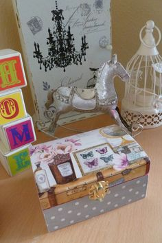 wooden jewellery box with butterfly decoupage by madebytimea, £6.00