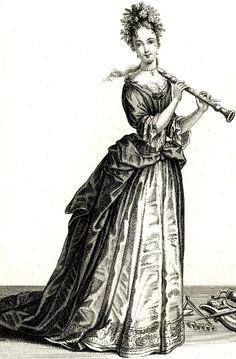 """""""femme qui jouant le flute à bec"""" (1687)."""