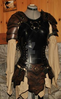 women leather armor armure cuir femme by Lagueuse cosplay costume LARP LRP fashion clothes clothing equipment gear magic item | Create your own roleplaying game material w/ RPG Bard: www.rpgbard.com | Writing inspiration for Dungeons and Dragons DND D&D Pathfinder PFRPG Warhammer 40k Star Wars Shadowrun Call of Cthulhu Lord of the Rings LoTR + d20 fantasy science fiction scifi horror design | Not Trusty Sword art: click artwork for source