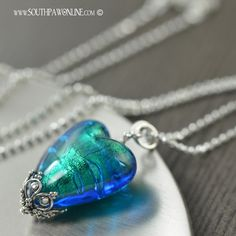 Electric blue queen of hearts necklace. last one for 2014