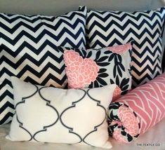 Custom 5 piece Pillow Set- Navy, Pink, and White on Light Aqua Caitlin Wilson fabric and Navy Chevron