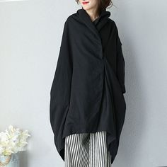 Women Autumn Literature Loose Shoulder Sleeves Black Coat