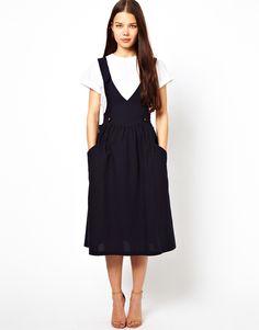 Les prairies de paris Pinafore Dress in Cotton in Blue (navy) | Lyst