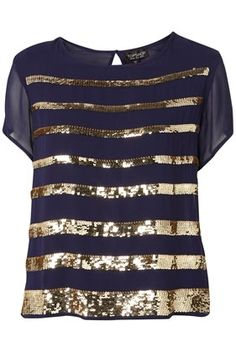 Sequin Stripe Tee - New In This Week - New In - Topshop USA - StyleSays