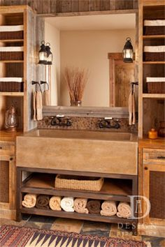 Love this beautiful rustic bathroom storage!