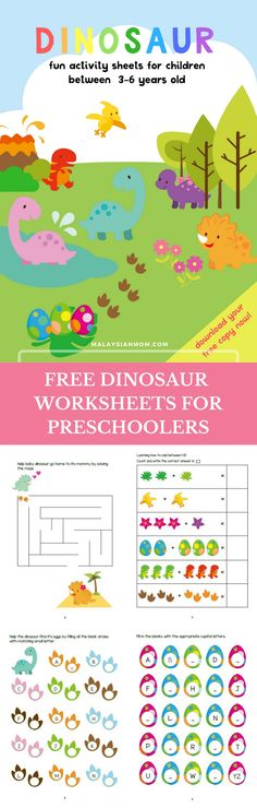 Dinosaur Preschool Printables Activities Worksheets for kindergarten Party theme DIY Cute more free printables malaysianmom Preschool Printables, Preschool Learning, Toddler Learning, Kindergarten Worksheets, Toddler Preschool, Kids Learning, Fun Printables For Kids, Free Worksheets For Kids, Teaching