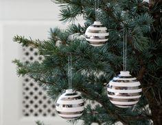 Omaggio Weihnachtskugeln 3er Set in silber von Kähler Design