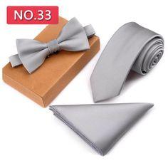 Slim Tie Set Men Bow Tie and Pocket Square Bow tie Necktie Handkerchief Man Hombre Silver Tie, Slim Tie, Wedding Ties, Tie And Pocket Square, Skinny Ties, Look, Branding Design, Pure Products, Accessories