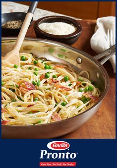 Spring clean your kitchen by getting rid of those extra pots and pans! Pronto means Crazy Delicious Linguine with Peas & Bacon is ready in minutes with less to clean and is a crowd-pleaser every time – pick some up today.