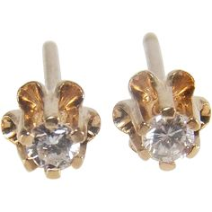 f99895b17 #VintageBeginsHere at www.rubylane.com @rubylanecom -- Vintage Diamond  Buttercup Style 14K Yellow Gold Stud Earrings