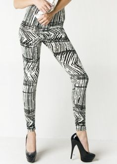 Sketchy Tribal Black and White Cotton Leggings Stella Elyse. $22.99
