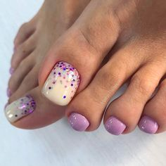 Zehennageldesign Lavender Nail Designs With Dotted Pattern ❤ Beautiful Nail Designs For Toes ❤ S Toe Nail Color, Toe Nail Art, Nail Colors, Acrylic Nails, Nail Nail, Coffin Nails, Top Nail, Pretty Toe Nails, Cute Toe Nails