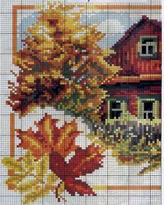 Cabaña en otoño a punto de cruz | laboresdeesther Punto de cruz gratis