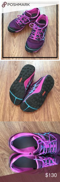 """Merrell """"All Out Rush"""" trail running shoes size 9 📦Same day shipping (excluding Sun/holidays or orders placed after P.O. Closed) ❤️Save on shipping: Add all of your """"likes"""" to a bundle and submit an offer  This particular style of Merrell running shoes is the only athletic shoe I can run with. I have permanent nerve damage in my left foot but these allow me to run/train pain free. These are used (see close up photo 3 of blemishes). I buy a new pair every 6 months. Perfect for if you want to…"""
