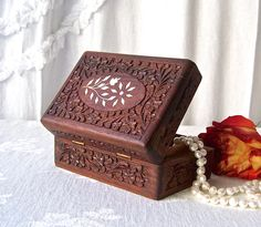 Vintage Wood Dresser Box Hand Carved Mahogany Box Mother Of