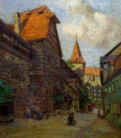 """Julius Schrag """"Village Road"""" 35x29 Oil on Canvas"""