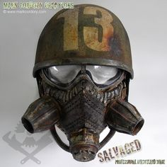 Helmet and mask combo for a Fallout-themed Post Apocalyptic Airsoft LARP. SALVAGED Ware enquiries welcome at www.markcordory.com