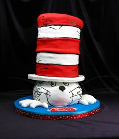 Cat in the hat, fondant, tall cake, hand painted, | Birthday ...
