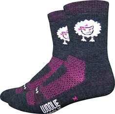 "Defeet Woolie Boolie ""Baaad Sheep"" Socks, Charcoal/Neon Pink, Large. Ultimate dryness and protection. Protect yourself from athlete's foot. Look good in these amazing socks."