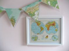 This is what my boy room is missing  vintage atlas map bunting $14.95, Etsy.