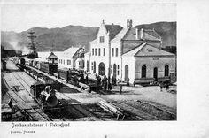 Flekkefjord jernbanestation Vest-Agder fylke Foto: Kiönig Hansen tidlig 1900-tall
