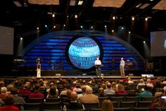 Josh Scott from Midland Evangelical Free Church in Midland, MI brings us this stage design for a series on taking Christ to the nations. Church Stage Design, Photo Book, Making Out, Waves, Scene, World, Easter 2018, Circle Shape, Volunteers