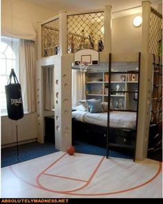 This is a cool bedroom.  My kids are past this age, but it's a great idea!