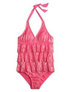 NWT JUSTICE GIRLS Purple Foil Polka Dot ONE PIECE SWIMSUIT Size 8 Swim Wear Suit