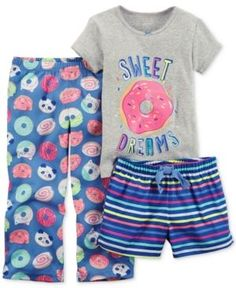 Carter's 3-Pc. Sweet Dreams Pajama Set, Little Girls (4-6X) & Big Girls (7-16) - Gray 4