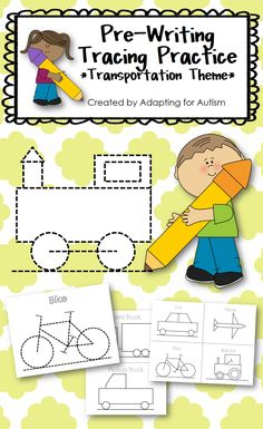 This packet includes transportation themed tracing sheets. Students can practice their pre-writing skills by tracing their favorite vehicles - train, semi truck, pickup truck, car, plane, bike and tractor. #finemotor #prewriting {Created by Adapting for Autism}