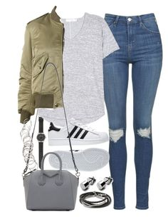 """""""Outfit for a casual day with friends"""" by ferned on Polyvore featuring J.Crew, Topshop, rag & bone, Yves Saint Laurent, adidas, Givenchy, Banana Republic and H&M"""