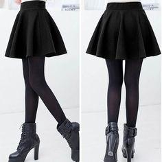 Sexy Stretch High Waist Plain Skater Flared Pleated Casual Cotton Mini short Skirt yks