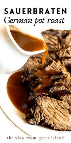Beef Pot Roast, Pot Roast Recipes, Crockpot Recipes, Cooking Recipes, German Pot Roast Recipe, Authentic German Sauerbraten Recipe, Great Recipes, Favorite Recipes, Kitchens