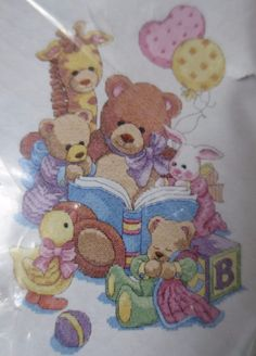 "nip dimensions BABY HUGS teddy & friends stamped cross stitch quilt kit 34""x43"" #dimensions #quilt"