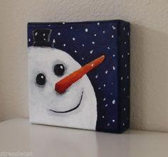 Original Acrylic Canvas Folk Art Lucia Stewart whimsical Christmas snowman