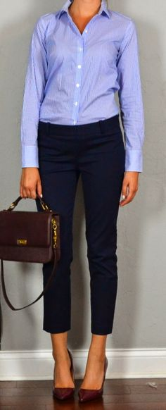 Guest outfit post - sister week: striped shirt, navy crop pants, maroon heels and purse