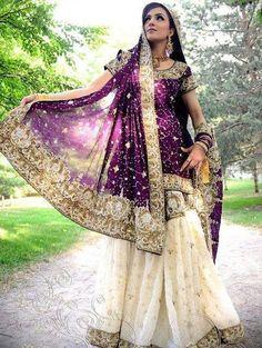 purple and white bridal lehenga, indian wedding pakistani wedding Pakistani Bridal Wear, Pakistani Wedding Dresses, Bridal Lehenga, Indian Dresses, Indian Outfits, Pakistani Lehenga, Indian Clothes, Saris, Bridal Outfits