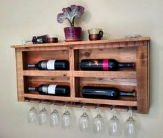 Reclaimed Pallet Wood Wine Rack with White LED Lights by CedarOaks, $127.00