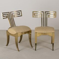 Talisman A Pair of Studio designed Brass Klismos Occasional Chairs circa 1980 -