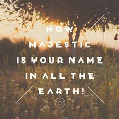 Psalm 8:9 ...how majestic is your name in all the earth.  God loves us with a love that we can't even begin to fathom.