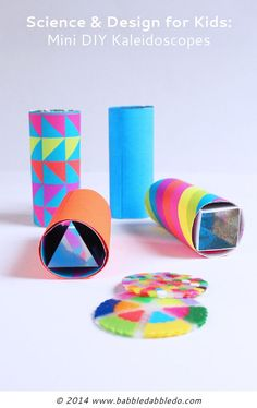 DIY Teleidoscopes: A simple open ended DIY kaleidoscope you can make at home. Great science project for kids exploring optics and light. Science Art, Science For Kids, Science Projects, Projects For Kids, Craft Projects, Easy Crafts For Kids, Diy For Kids, Diy Kaleidoscope, Toilet Paper Roll Crafts