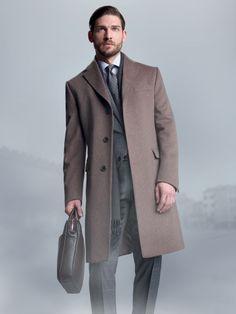 3-button pure cashmere melange #coat with 2 flap pockets. Fine 150's wool overcheck #suit. 2-button lined #jacket with 2 flap pockets. #Trousers without pleats, 20.5 cm base. #fw14 #man