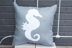 Burlap Pillow  Seahorse Burlap Pillow  Beach House decor by TwoPeachesDesign, $28.00 #summer #beach house #seahorse