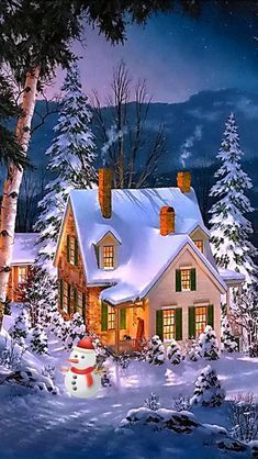 Winter Christmas Scenes, Christmas Scenery, Christmas Night, Country Christmas, Christmas Art, Christmas Greetings, Beautiful Christmas, Merry Christmas Wallpaper, Merry Christmas Pictures